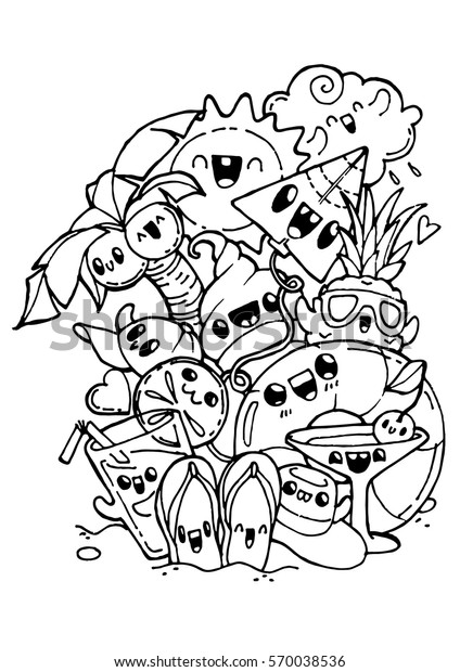 Summer Doodles Coloring Pages Kids Adult Stock Vector (Royalty
