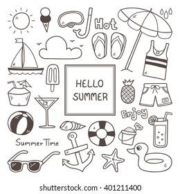 Summer Doodles. Summer Icon Set.