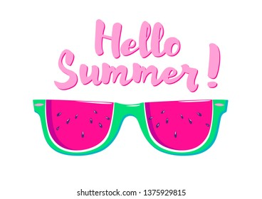 summer drawing with watermelon glasses and the lettering