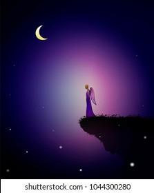 summer dream, fairy angel on the edge on the rock with pink gaze, fairy summer night, vector,