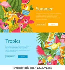 Summer elements, cocktails, flamingo, palm leaves web banner templates illustration