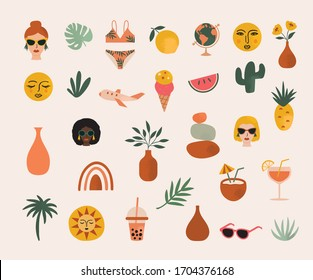 Summer Elements Illustration in Vector for stickers, labels, social media and more.