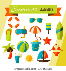 Summer elements isolated on white. vector illustration stylish colors of Summer elements isolated on white