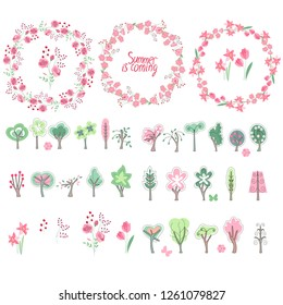 Summer elements. Phrase Summer is coming. Blossoming trees and flowers. Round frame. Template for your design, festive greeting cards,  announcements, posters.