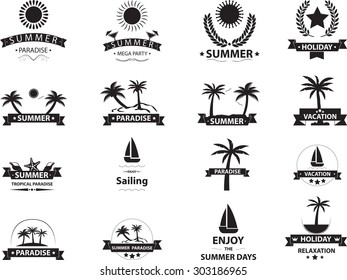 Summer emblem collection isolated on white