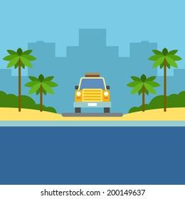 Summer Escape poster. Vector illustration.