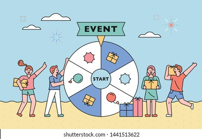 Summer Event Concept Promotional Banner. People are giving gifts by spin-boarding events. flat design style minimal vector illustration.
