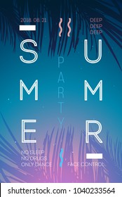Summer event poster flyer invitation card with palm leaf, sunset, decoration. Vector illustration
