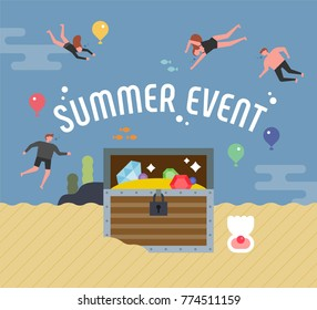 summer event under the sea people and treasure box concept vector illustration flat design