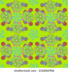 Summer exotic floral abstract pink, green and blue background. Vector abstract seamless pattern. Plant flower nature wallpaper.