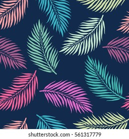 Summer exotic floral tropical palm, banana leaves background. Vector abstract seamless pattern. Plant flower nature wallpaper