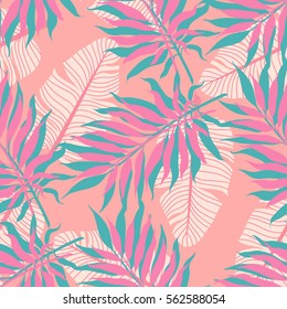 Summer exotic floral tropical palm, banana leaves background. Vector abstract memphis seamless pattern. Plant flower nature wallpaper