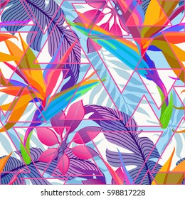 Summer exotic floral tropical palm leaves background. Vector abstract seamless pattern. Plant flower nature wallpaper with triangles