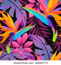 Summer exotic floral tropical palm leaves background. Vector abstract seamless pattern. Plant flower nature wallpaper