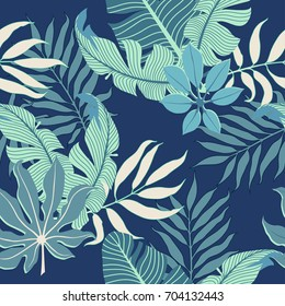 Summer exotic floral tropical palm leaves background. Vector tropical abstract seamless pattern. Plant flower nature wallpaper in blue palette