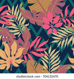 Summer exotic floral tropical palm leaves background. Vector tropical abstract seamless pattern. Plant flower nature wallpaper