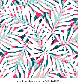 Summer exotic floral tropical white palm leaves on abstract colorful pattern. vector seamless background. Plant flower nature wallpaper