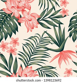 Summer exotic green tropical palm, monstera leaves and pink lily, frangipani, plumeria, bird of paradise flowers on the white background. Seamless realistic vector composition, botanical beach pattern