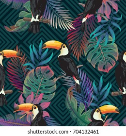 Summer exotic seamless pattern. Floral background with tropical palm leaves, flowers and toucan on dark