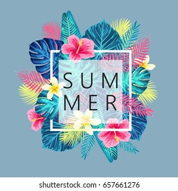 Summer exotic and tropic background design. Composition with palm leaves. Vector universal background with place for text.