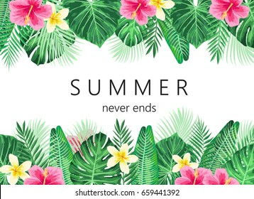 Summer exotic and tropic background design. Composition with palm leaves and flowers. Vector universal background with place for text.