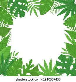 Summer exotic tropical frame with banana leaves, monstera leaves, palm leaves and place for text. Perfect for wedding invitations, greeting cards, prints, postcards, posters. Vector illustration
