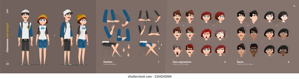 Summer Extreme Clothes Style. Guy and Girl Cartoon Characters for Animation. Default Body Parts Poses with Face Emotions. Five Ethnic Styles