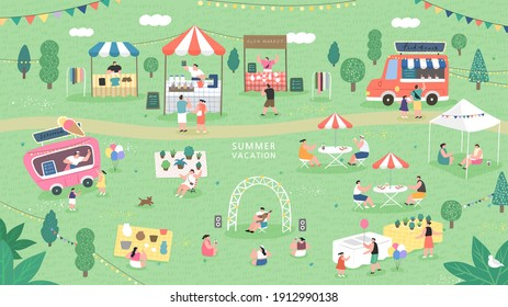 Summer fair festival food, Summer flea market. sale family festival event, marketplace and tent vector illustration