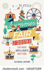 Summer Fair vertical poster or banner template with decorative amusement park attractions