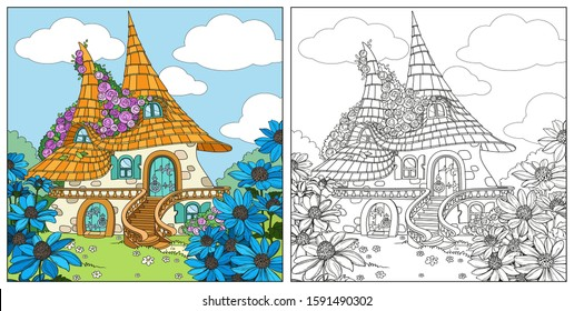 Summer fairytale big home with two roofs twined roses color and outlined isolated on a white background