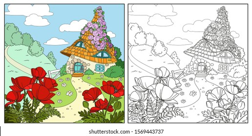 Summer fairytale home twined with roses with poppy flowers in the foreground color and outlined isolated on a white background
