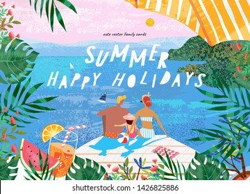 Summer family happy holidays! Vector illustration of mom, dad and child at the resort near the sea for a banner, card or poster. Drawing family resting on the beach