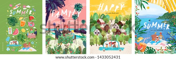 Summer family holidays and weekends! Set of vector illustrations, drawings of mother, father and child on vacation at the resort, eating at a table for lunch or dinner and traveling by car on a trip
