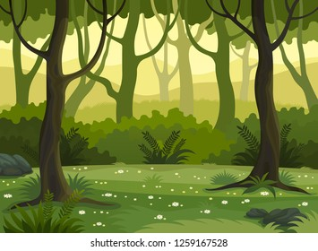 Summer fantasy forest landscape vector illustration.