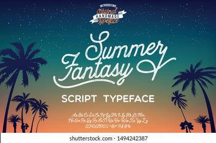 Summer Fantasy. Hand made script font. Vacation summer time. Waikiki beach. Vector illustration. Retro typeface and logo. Summer style.