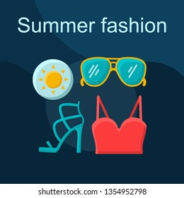 Summer fashion flat concept vector icon. Shopping idea cartoon color illustrations set. Clothes, shoes, accessories. Womens outfit. Crop top, sunglasses, high heels. Isolated graphic design element