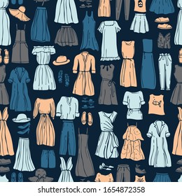 Summer fashion. Hand drawn women's clothing and shoes. Vector  seamless pattern