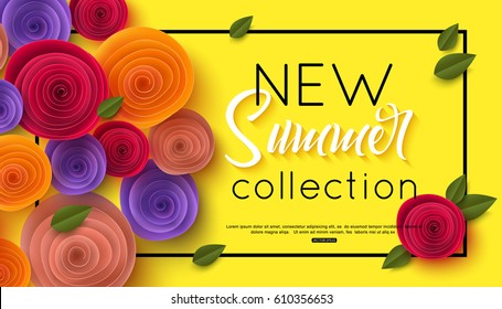 Summer fashion shopping banner template, vector illustration