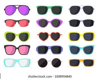 Summer fashion sunglasses set isolated on white background. Vector illustration