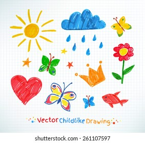 Summer felt pen child drawing on checkered school notebook paper. Vector set.