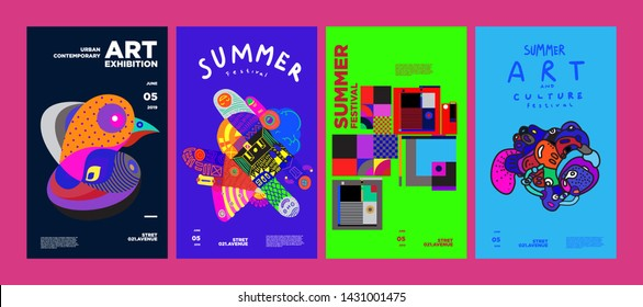 Summer Festival Art and Culture Colorful Illustration Poster. Illustration for Summer, event, website, landing page, promotion, flyer, digital and print.