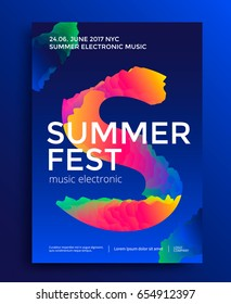 Summer festival electronic music poster. Club night party flyer. S letter with abstract gradients.