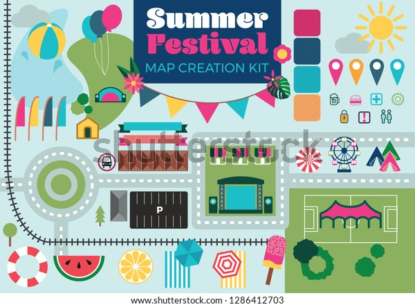 Summer Festival Event Map Builder Creator Stock Vector ... on housing maps, google maps mania, map software for os x, maps of the world, map captain, maps on us, map creation freeware, map engineering company, map maker pro, map of amtrak through glacier park,