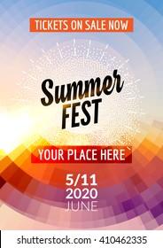 Summer festival flyer design template. Summer poster template colorful design.
