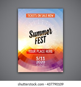 Summer festival flyer design template. Vacation poster template colorful design.