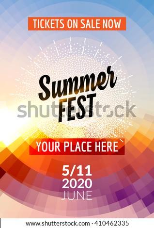 summer festival flyer design template summer のベクター画像素材
