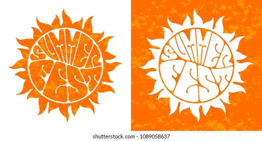 Summer festival logo set. Hand-sketched lettering. Retro style vector design.