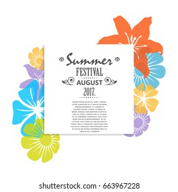 Summer festival square banner trendy flower poster vector illustration isolated on white background