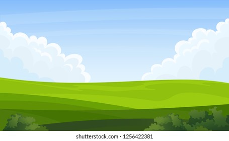 Summer field landscape. Green hills, blue sky and white clouds vector background.
