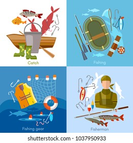 Summer fishing set, fisher elements vector template. Professional fishing set fishing rod, hooks, bait, fish, worms, fisher equipment vector